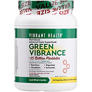 Vibrant Health - Green Vibrance, Plant-Based Daily Superfood + Probiotics and Digestive Enzymes, 84.5 servings, 35.27 oz (FFP)