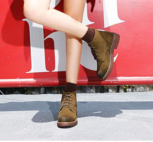 Stiefel Lederstiefel LIANGXIE Stiefeletten Frauen Wanderschuhe High mattierte Wind Top Kurze British Stiefel Braun Flache Dicke Wasserdichte Stiefel AxZqzAnSr