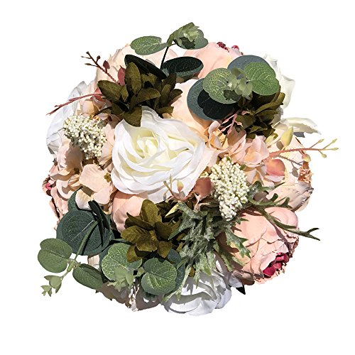 Bouquet Bridal Roses Lily (Abbie Home Wedding Bouquet - Artificial Roses Peony Lily Real Touch Bridal Holding Flowers)
