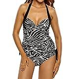 DISSA S41691 Women Blackwhite Tankini Swimsuit,L-UK14