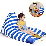 Stuffed Animal Bean Bag Chair for Kids and Adults. Premium Canvas Stuffed Seat - Cover ONLY(White/Blue Stripe 200L/52 Gal)
