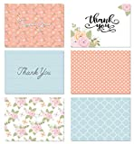 (48 Count) Floral Thank You Cards Set with Envelopes - Professional Paper with Blue Pink and Green Designs and Blank White Inside - Bulk Pack of Notes for Baby or Bridal Shower Wedding Birthday Party
