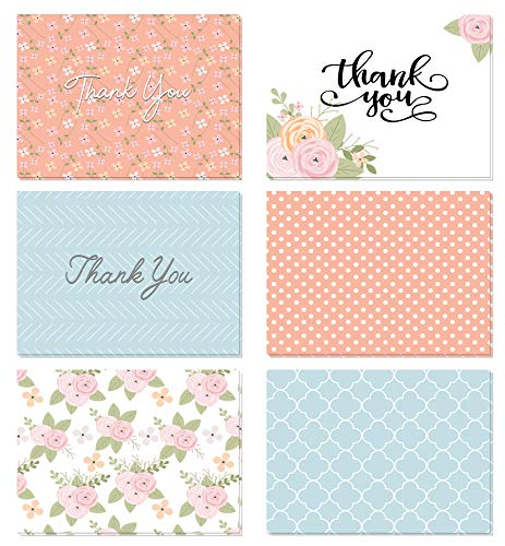 Blue Note Favor Set - (48 Count) Floral Thank You Cards Set with Envelopes - Professional Paper with Blue Pink and Green Designs and Blank White Inside - Bulk Pack of Notes for Baby or Bridal Shower Wedding Birthday Party
