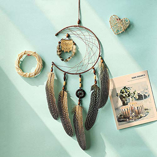Gotian 16cm Dia Handmade Dream Catcher with Feathers Wooden Owl Wall Hanging Decoration Ornament ()