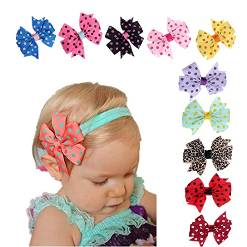 Clearance Sale!Babys Hairband,Canserin 10PC Elastic Wave Point Bowknot Headband (And Clearance Sales)