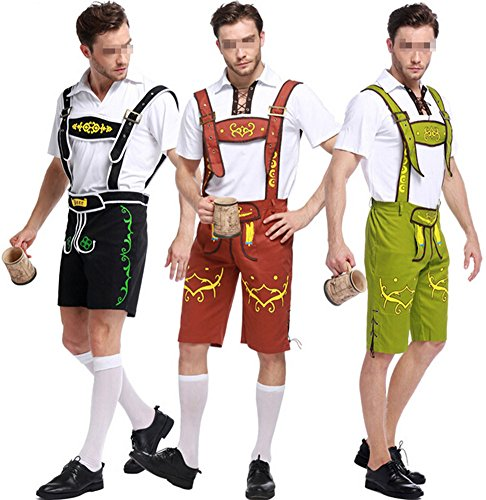 Oktoberfest Costume Bavarian Men Uniform Lederhosen Shorts with shirt Black X-Large