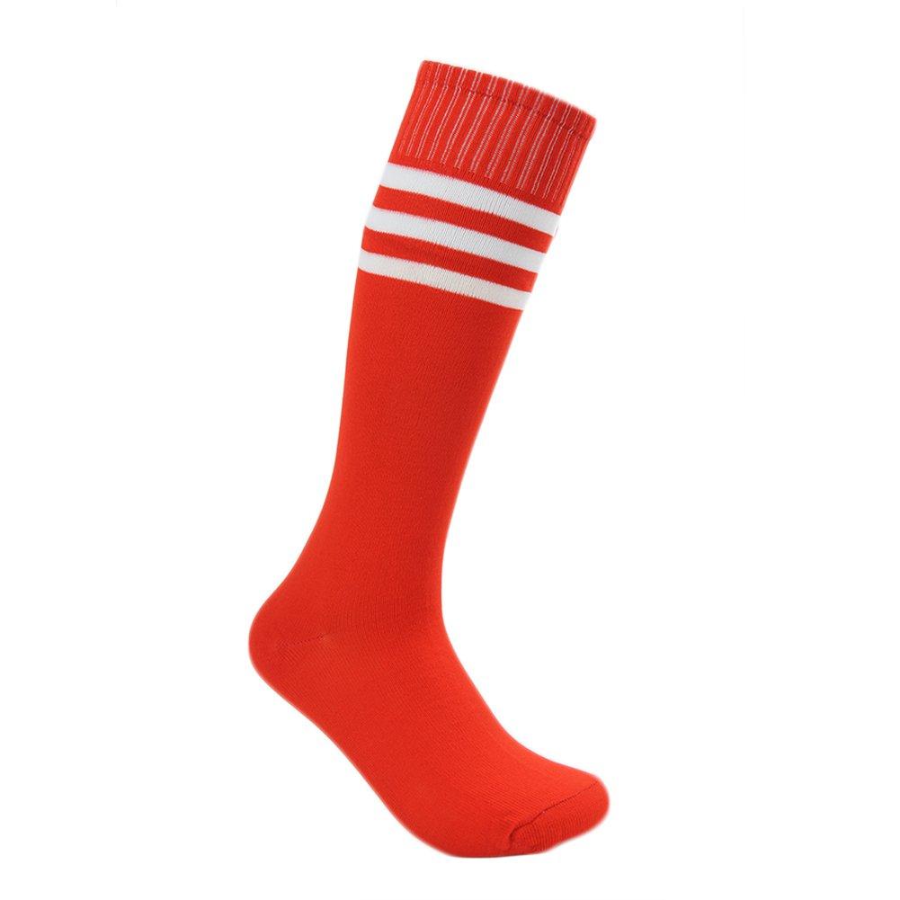 Fasoar Mens Womens Knee High Stripe Football Sports Socks Pack of 6 Red Christmas gift,6 to 11