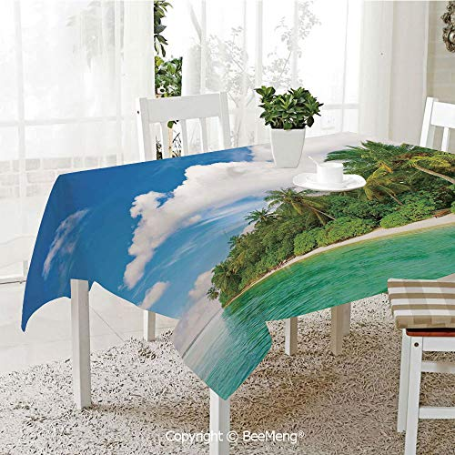 BeeMeng Dining Kitchen Polyester dust-Proof Table Cover,Ocean,A Surreal View in Tropical Island Palm Trees Ocean and Sky Exotic Lands,Turquoise Green White,Rectangular,59 x 59 inches
