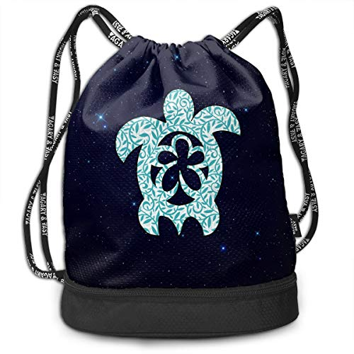 Hawaiian Sea Turtle Clipart Drawstring Backpack Sports Gym Bag Traveling And Storage Gym Hiking Travel Beach Gym Bag For Women Men ()