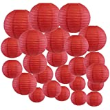 Just Artifacts Decorative Round Chinese Paper Lanterns 24pcs Assorted Sizes (Color: Dark Red)