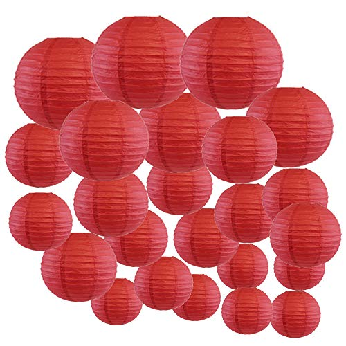 Burgundy Lanterns - Just Artifacts Decorative Round Chinese Paper Lanterns 24pcs Assorted Sizes (Color: Dark Red)