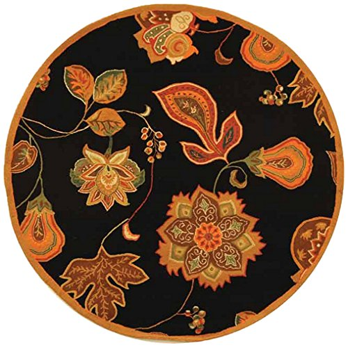 Safavieh Chelsea Collection HK209C Hand-Hooked Black and Orange Premium Wool Round Area Rug (4' ()