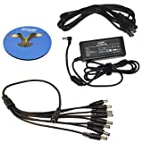 HQRP KIT: 12V DC 5A Power Supply Adapter with 8 Port DC Splitter Cable Cord for CCTV Security Camera System plus HQRP Coaster