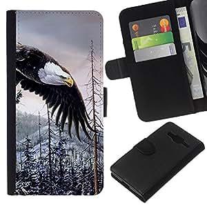 All Phone Most Case / Oferta Especial Cáscara Funda de cuero Monedero Cubierta de proteccion Caso / Wallet Case for Samsung Galaxy Core Prime // Bald Eagle American Alaska Wilderness