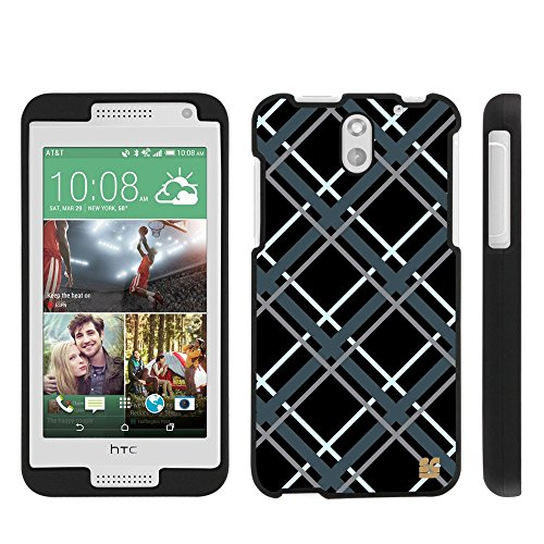 Spots8® for HTC Desire 610, Glossy Image Graphic Design on 2 Piece Snap-On [Slim Fit] Hard Protective Case Cover [Plaid in Gray]