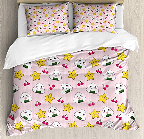 BULING Kids 4pc Bedding Set Twin Size, Cute Japanese Food Icons Rice Ball Cherries Asian Kawaii Anime Pattern Design Floral Lightweight Microfiber Duvet Cover Set, Pink Multicolor