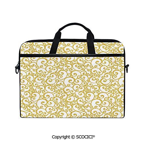 Personalized Laptop Bag 14-15 Inch Messenger Bag Floral Ivy Swirls Like Rounds Old Victorian Time Inspired Art Print Decorative Shoulder Sleeve Case Tablet Briefcase