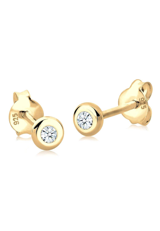Ohrstecker 375 Gold Weißgold 0,27 ct Diamanten Brillant Solitär Ohrringe rund 9K