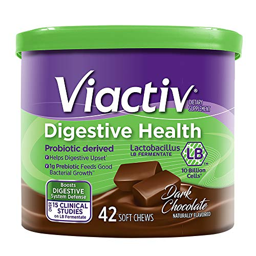 Viactiv Digestive Health Soft Chews, Dark Chocolate, 42 Chews - Probiotic Derived Dietary Supplement with Lactobacillus LB Fermentate - Fiber Chews Chocolate