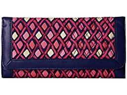 Vera Bradley Womens Trifold Wallet Katalina Pink Diamonds/Navy Clutch