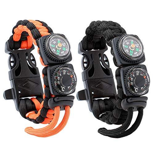 Reehut Paracord Bracelet with Fire Starter Whistle Scraper