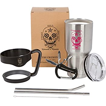 30 oz Tumbler | Sugar Skull Stainless Steel Cup with Handle, Straws & Multi-tool Carabiner: Premium Vacuum Insulated 7 Piece Bonus Mug Set by First Hill Society - Pink