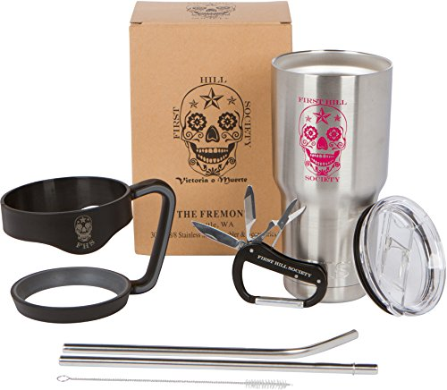 (30 oz Tumbler Gift Set | Sugar Skull Stainless Steel Cup with Handle, Straws & Multi-tool Carabiner: Premium Vacuum Insulated 7 Piece Bonus Mug Set by First Hill Society - Pink)