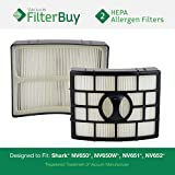 2 - Shark NV650 HEPA Filters, Part # XHF650. Designed by FilterBuy to fit Shark Rotator Powered Lift-Away Models NV650, NV650W, NV651, NV750W, NV750, NV751 & NV752