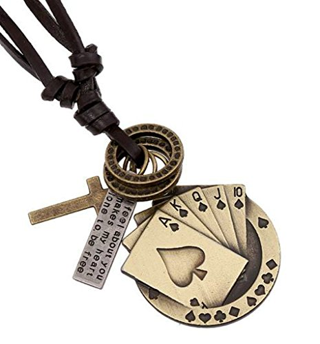 AMDXD Jewelry Gold Plated Men's Women's Pendant Necklace Bronze Playing Card Cowhide