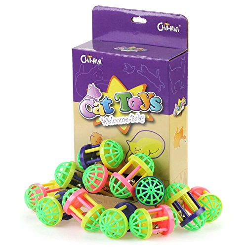 Chiwava 30PCS 2.5'' Plastic Bell Cat Balls Jingle Dumbbell Kitten Chase Toy Assorted Color by Chiwava