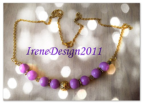 Gold Necklace with Purple Jade & Roses