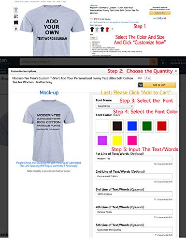 Modern-Tee Men's Custom T-Shirt Add Your Personalized Funny Text Ultra Soft Cotton Tee for Women Also |
