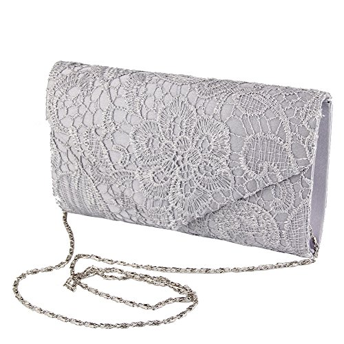 Bag Prom Bag Women's Fashion Eleoption Silver Chain Evening Bag Bag Shoulder Elegant Satin Clutch Bridal Lace Wedding Envelope Ladies Handbag Aw1OXq1x