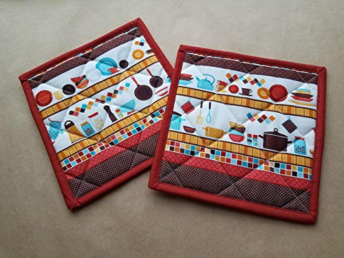 Retro Inspired Kitchen Themed Potholders Set of 2, Quilted Trivets, Hot Pads, MCM Gift Ideas, Vintage Kitchen Decor, Aqua, Buttercup, Rust, Brown, Retro Gift Ideas, Retro Kitchen, Fifties Aesthetic