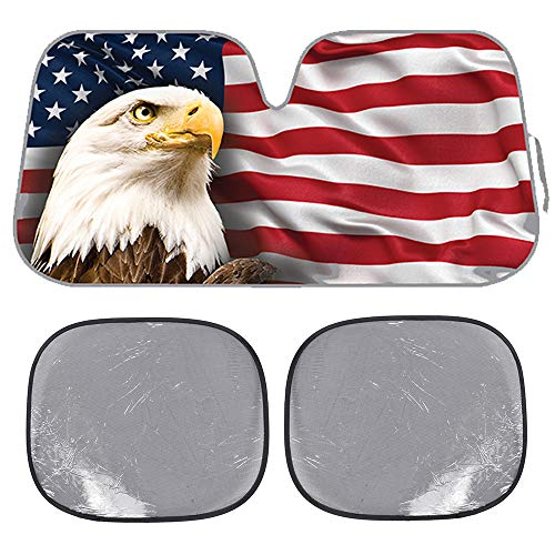 - BDK USA Eagle Flag Auto Windwhield & Side Sun Shades for Car SUV Truck - Stars & Stripes-Bubble Foil Jumbo Folding Accordion