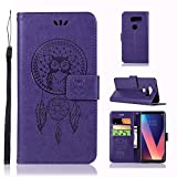 LG V30/LG V30 Plus/LG V30S ThinQ/LG V35 ThinQ Case, AIIYG DS Classic 3D Owl Dream Catcher Pattern [Kickstand Feature] Flip Folio Leather Wallet Case with ID and Credit Card Pockets (Purple Owl)