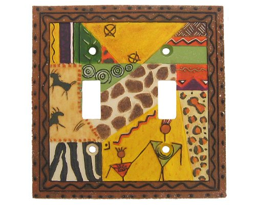 Kenya African Tribal Double Switch Cover