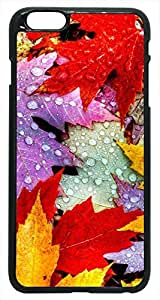 Generic Autumn Leaves with Water Drops Yellow Red Purple Nature Hard Case for iPhone 6 Black