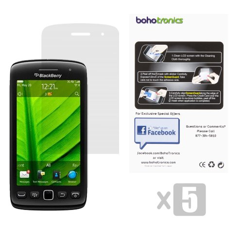 Blackberry 9850/9860 5x Screen Protector Saver Clear Transparent W Cleaning Cloth (Protectors 9850 Screen)