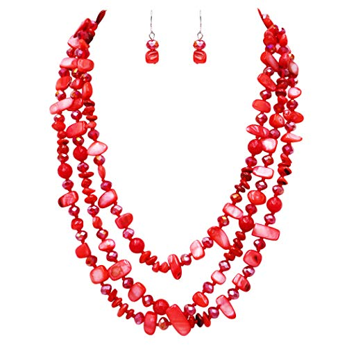 Rosemarie & Jubalee Women's Stunning Natural Shell Stone and Faceted Cut Glass Bead Knotted Multi Strand Bib Necklace and Earrings Set (Red)