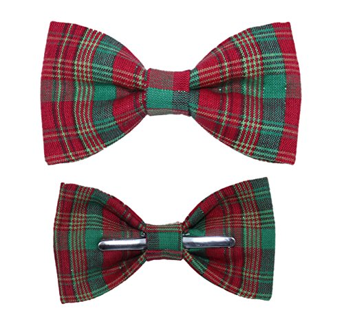 Men Christmas Holiday Red / Green Plaid With Tinsel Clip On Bow Tie