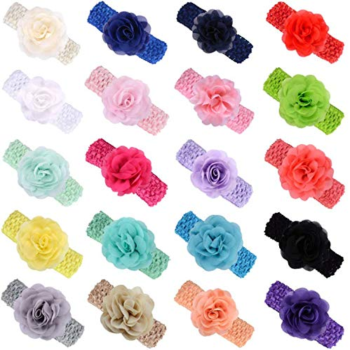 KW Collection Girl Baby Headbands with Chiffon Rose Flower Elastic Crochet Hair Bands Ankle Wrist flower Hat Decoration (Band: 1.6