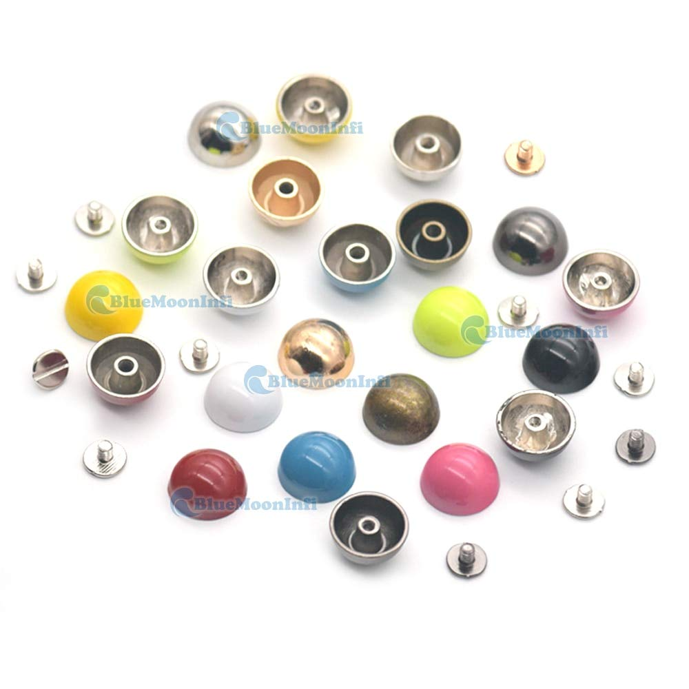 Leather Rivets Set 15/30/50 Sets 15mm Round Alloy Mushroom Rivet Stud Button Screw for Handbag Bag Clothes Punk Decorative Leather