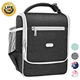 Amersun Insulated Lunch Box,Spacious Stylish Lunch Bag Cooler Sturdy Snack Organizer with Multi-pocket for Kids Women Men Adult Boys Girls School Office Picnic Work Bento Box(Spill-resistant,Black)