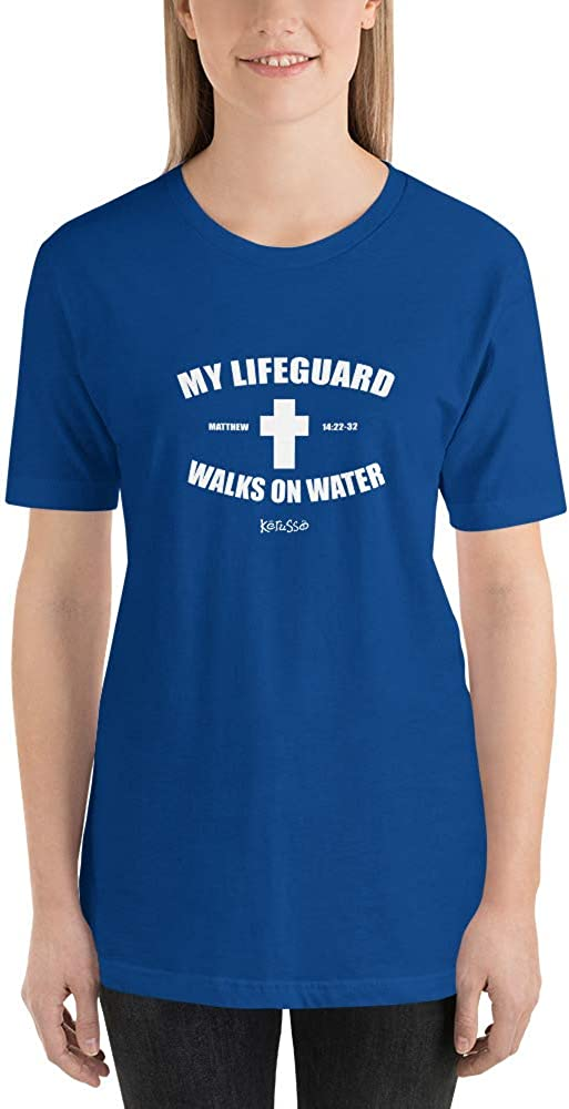 My Lifeguard Walks on Water Shirt Funny Jesus Christ Astor Religious Devout Youth Humor