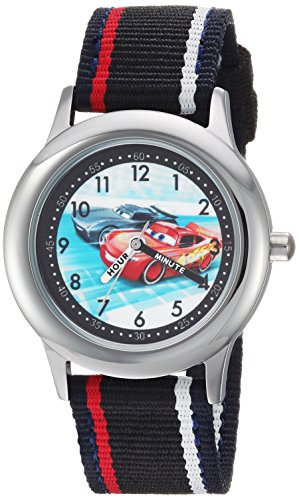 DISNEY Boys Cars 3 Stainless Steel Analog-Quartz Watch with Nylon Strap, Black, 16 (Model: WDS000463)