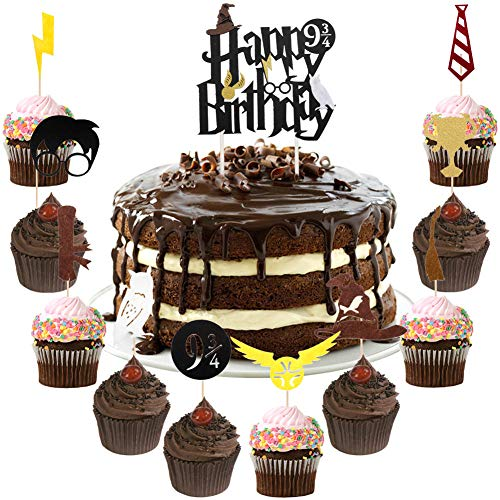 (Chengcaifengye Harry Inspired Glitter Black Wizard Cake Decorations Set, 1 Pcs Happy Birthday Cake Topper + 30 Pcs Cupcake Toppers Birthday Party Decorations(1 Cake Topper+30 Cupcake Toppers Black))