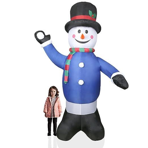 CCLIFE Muñeco inflable de nieve LED, 180cm o 240 cm, exterior, iluminación navideña, Color:Azul003-240cm