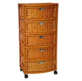 Storage Unit On Wheels Handmade With Drawers - Mobile Rolling Organizer Tower Natural Fibers - Best For Office, Bedroom, Laundry Room Bundle w Anti-slip Accessory Pad (Natural)