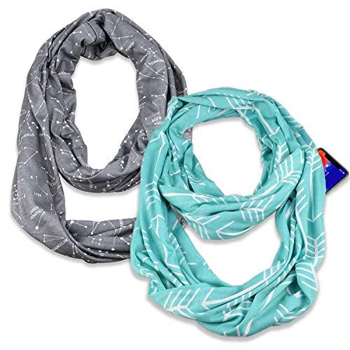 (2 Pack) Infinity & Soft Scarf with Hidden Zipper Pocket Bundle Set   Winter Spring Summer Fall Autumn Lightweight Fashion Pattern Scarf, Travel Accessories for Women Girls Ladies
